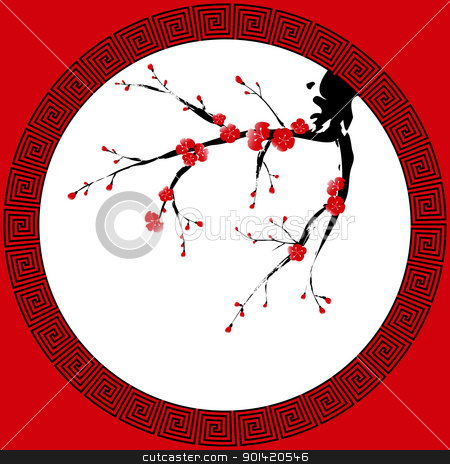 Chinese New Year greeting card stock vector clipart, Oriental style painting, Plum blossom, Cherry blossom by meikis
