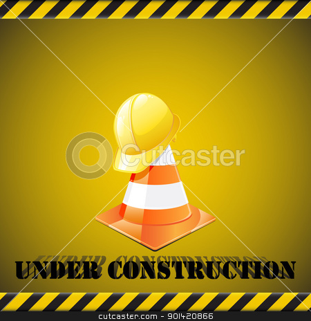 Under construction stock vector clipart, Under construction background - traffic cones  with safety helmet. Vector illustration by Vladimir Gladcov