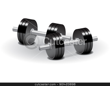 Dumbbells stock vector clipart, Vector illustration set of dumbbells over white background by Vladimir Gladcov