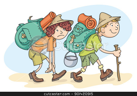 Travelers stock vector clipart, Man and woman are hiking with backpacks. by mammothis