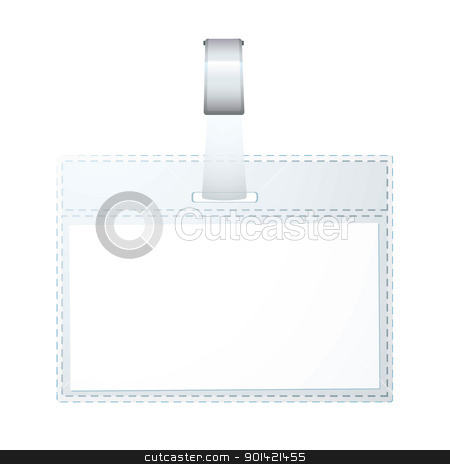 Business name tag stock vector clipart, Clear plastic business name tag with space for your name by Michael Travers