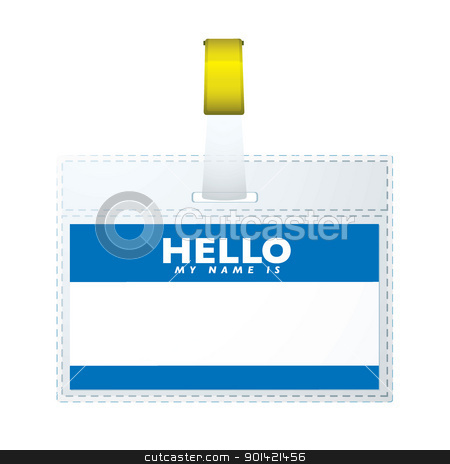 Helloe my name is tag stock vector clipart, Blue hellow my name is business tage with copyspace by Michael Travers