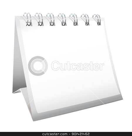 Blank desk calendar stock vector clipart, White blank calendar with spiral metal bound pages by Michael Travers