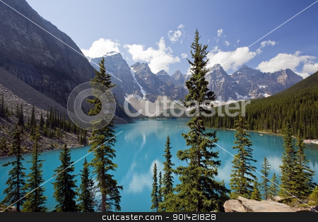 Moraine Lake stock photo, Moraine Lake, Banff National Park, Alberta, Canada by Bryan Mullennix