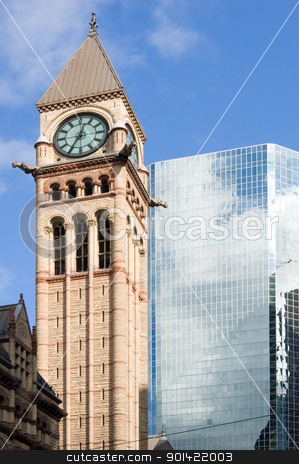 Two building stock photo, Modern building and old tower on blue sky background by Pavel Cheiko