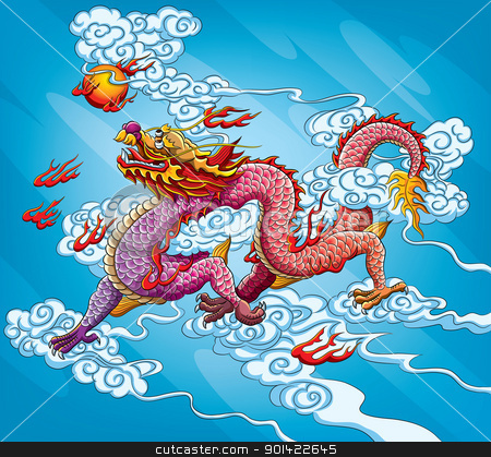 Chinese Dragon Painting stock vector clipart, chinese dragon painting for your chinese new year 2012 celebration by H4nK