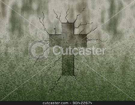 cross stock photo, christian cross symbol on stone wound by J?