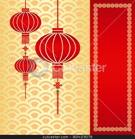 Chinese New Year greeting card stock vector clipart, Red chinese lantern on seamless pattern background by meikis