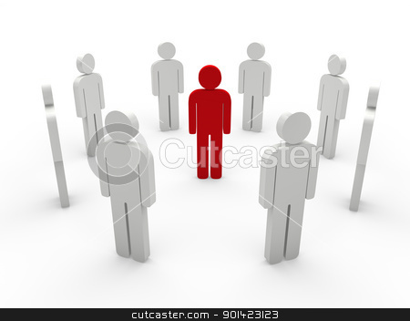 teamwork white red stock photo, teamwork white with red people the middle by d3images