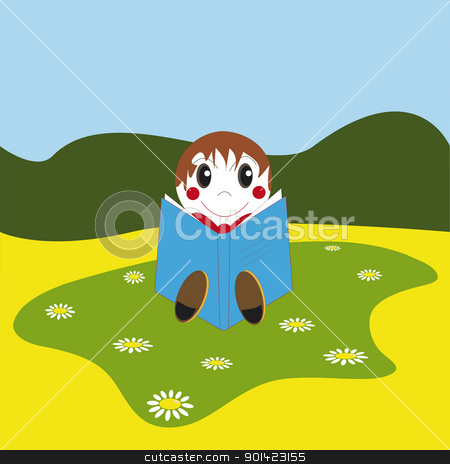 Reading Book stock photo, Vector illustration of a happy boy sitting and reading a book by Valentyna Chukhlyebova