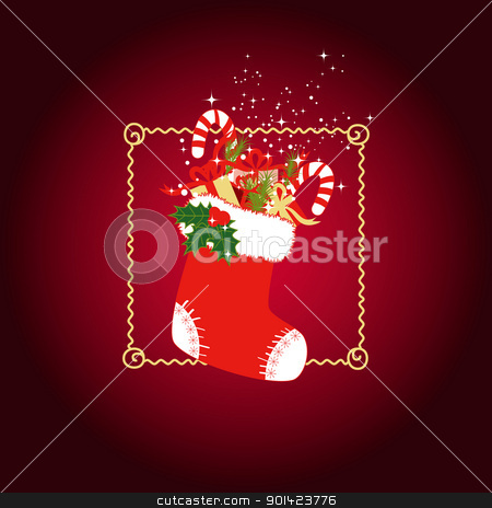 Christmas greeting card stock vector clipart, Christmas stocking with colorful Christmas gifts on red background by meikis