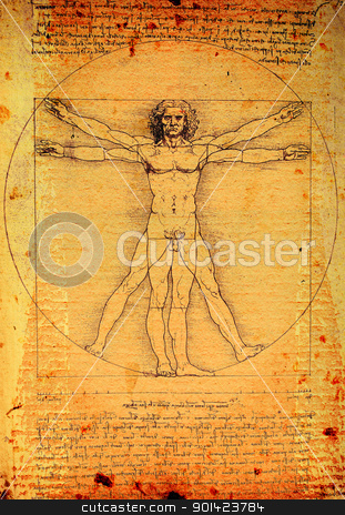 Vitruvian Man  stock photo, Photo of the Vitruvian Man by Leonardo Da Vinci from 1492 on textured background. by Janaka Dharmasena