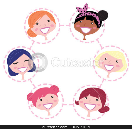 Women multicultural network group isolated on white  stock vector clipart, Cute multicultural woman in circle. Vector Illustration. by BEEANDGLOW