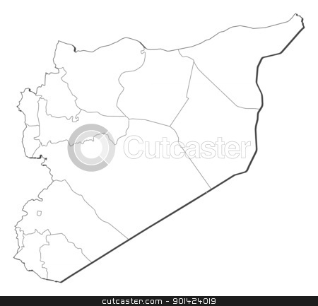 Map of Syria stock vector clipart, Political map of Syria with the several governorates. by Schwabenblitz