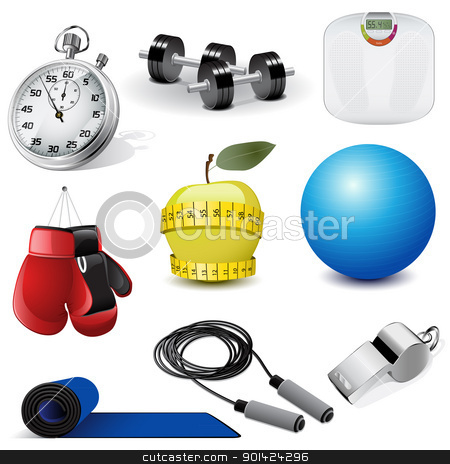 Vector fitness icons stock vector clipart, Vector illustration set of the fitness icons by Vladimir Gladcov
