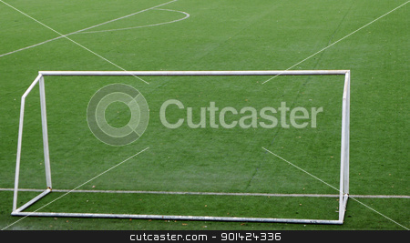 Soccer goal gate stock photo, Soccer goal in the green field by John Young