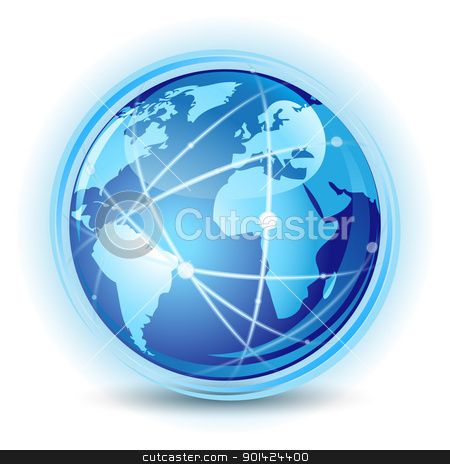 Global communication concept stock vector clipart, Vector illustration of blue earth world. Global communication concept by Vladimir Gladcov