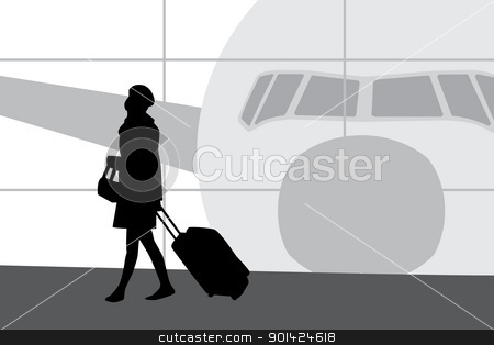 Woman in airport  stock vector clipart, Woman with suitcase walking in airport, black sihouette, with airplane behind window in the background. by lkeskinen
