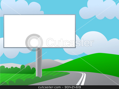 Country billboard stock vector clipart, Advertising billboard on country road. Sunny day, green hills and blue sky. by lkeskinen