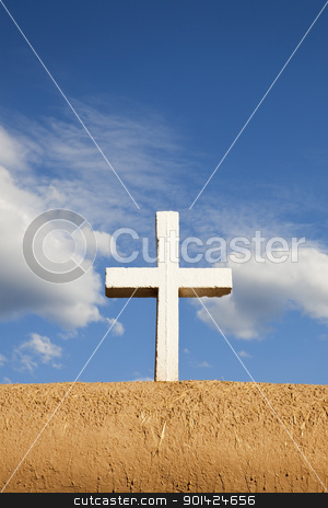 White Cross on Adobe Wall stock photo, White Cross on Adobe Wall, San Francisco de Asis, Mission Church, Ranchos de Taos, New Mexico, USA by Bryan Mullennix