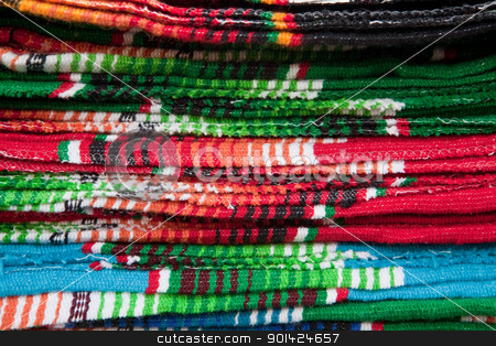 Colorful Mexican Blankets stock photo, Colorful Mexican Blankets, Santa Fe, New Mexico by Bryan Mullennix