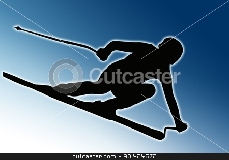 Blue Back Sport Silhouette - Speeding Skier stock photo, Blue Background Sport Silhouette - Skier speeding down slope