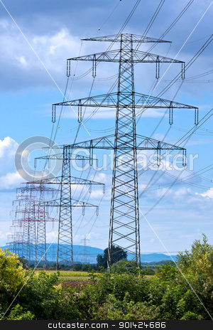 High voltage pylon stock photo, High voltage pylon from Austria from steel by ARPAD RADOCZY