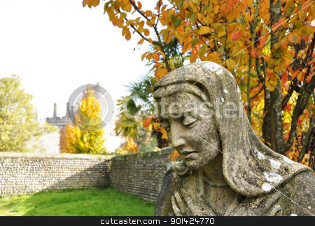 Virgin Mary statue stock photo, Virgin Mary statue in Arundel graveyard, England, UK by Dutourdumonde