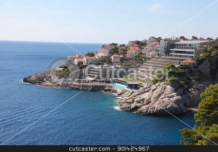 Hotel on Croatian coast stock photo, Hotel with swimming pool in Dubrovnik on the Dalmatian coastline by Paul Prescott