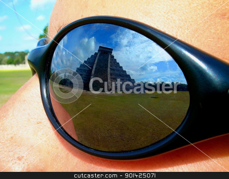 chichenitza stock photo, view of chichenitza temple through sun glasses by Paul Prescott