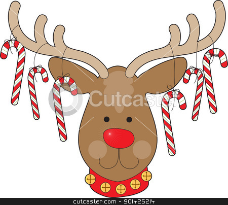 Reindeer Ornaments stock vector clipart, A smiling reindeer with a red nose and a red collar, has candy canes hanging from his antlers. by Maria Bell
