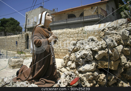 mary stock photo, praying statue in front of mary, king david wells, bethlehem, west bank, palestine, israel by Paul Prescott