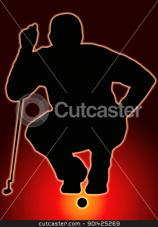 Glow Ball Sport Silhouette - Golfer Sizing put up stock photo, Glow Ball Sport Silhouette Golfer Sizing put up  by Snap2Art