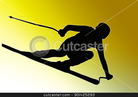 Gold Back Sport Silhouette - Speeding Skier stock photo, Gold back Sport Silhouette Skier speeding down slope