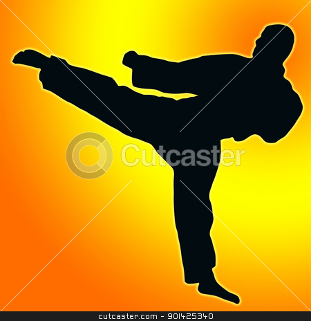 Gold Orange back Sport Silhouette - Karate Kick stock photo, Gold Orange Back Silhouette Karate Kick isolated by Snap2Art
