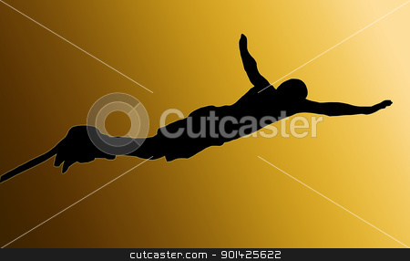 Golden Back Male Bungee Jumper stock photo, Golden Back Isolated Image of a Male Bungee Jumper Diving Forward by Snap2Art