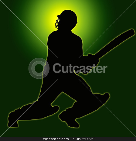 Green Gold Back Sport Silhouette - Cricket Batsman stock photo, Green Gold Back Sport Silhouette Cricket Batsman  by Snap2Art