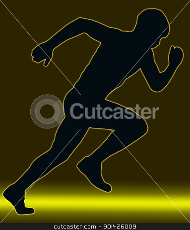 Green Gold Glow Sport Silhouette - Male Sprint Athlete stock photo, Green Gold Glow Sport Silhouette Male Sprint Athlete   by Snap2Art