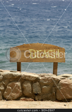 beach sign, stock photo, beach sign, red sea beach resort, sinai, egypt by Paul Prescott