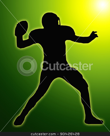 Green Glow Silhouette American Football Quarterback Throw stock photo, Green Glow Silhouette American Football Quarterback Aiming to Throw Ball by Snap2Art