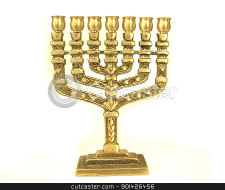 chandelier menorah stock photo, golden colour jewish chandelier menorah by Paul Prescott