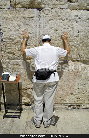 American jew pilgrim stock photo, American jew pilgrim at the wailing western wall, jerusalem, israel by Paul Prescott