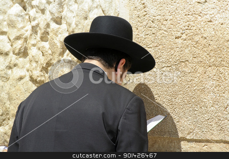 Hasidic jew at the wailing western stock photo, Hasidic jew at the wailing western wall, jerusalem, israel by Paul Prescott