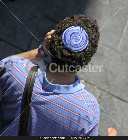 jewish kippa stock photo, man wearing jewish kippa, jerusalem, israel by Paul Prescott