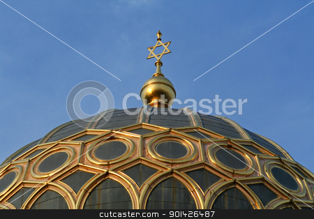 star of david  on top of the synagogue stock photo, star of david on top of a synagogue in berlin, germany by Paul Prescott