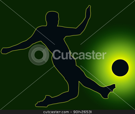Green Back Sport Silhouette Soccer player kicking ball stock photo, Green Back Sport Silhouette Soccer player kicking ball  by Snap2Art