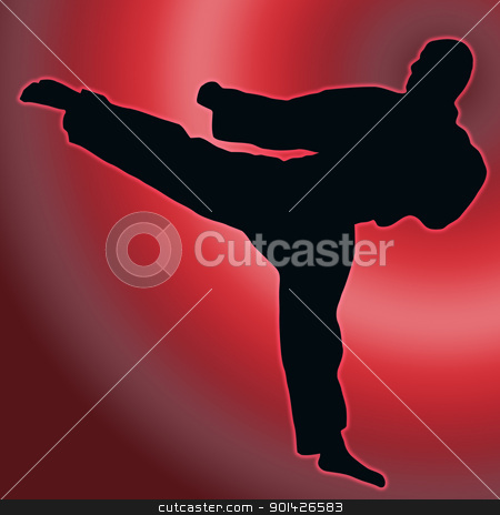 Red Back Sport Silhouette - Karate Kick stock photo, Red Back Sport Silhouette Karate Kick isolated  by Snap2Art