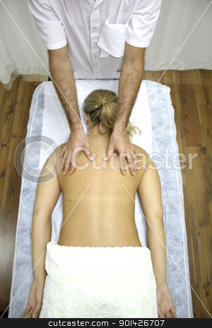 chinese medicine treatment stock photo, young woman getting chinese medicine treatment by Paul Prescott