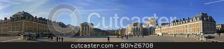 versailles stock photo, wide panoramic view of the castle of Versailles in Paris, France by Paul Prescott