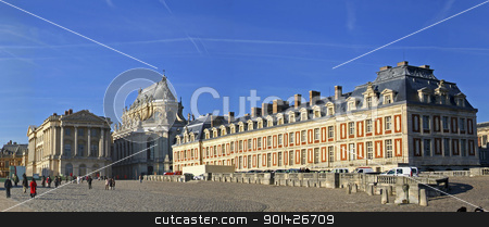 panoramic view of versailles stock photo, wide panoramic view of versailles, paris, france by Paul Prescott
